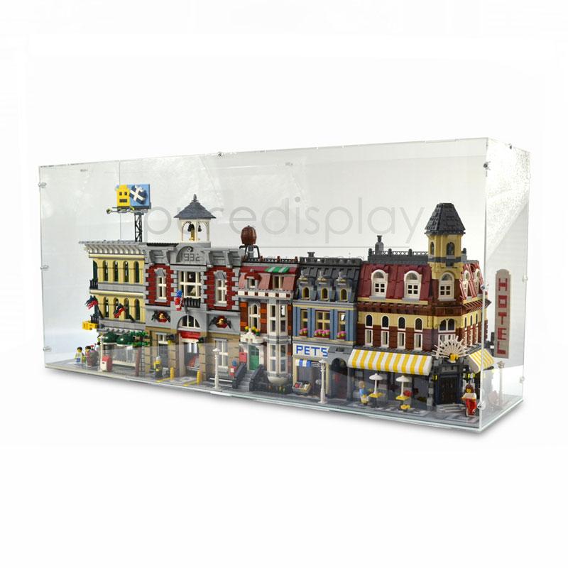 Acrylic Display Case LED Light Box for Lego Modular Building Fire Brigade 10197