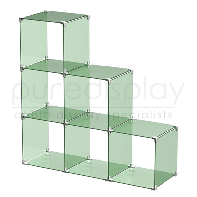 Glass Cube Display Set 3x3 Stepped